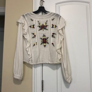 Free people long sleeve top, off white, size small